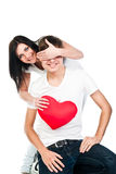 Woman gives a man a heart Stock Image