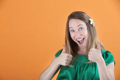 Woman Gives Thumbs Up Royalty Free Stock Images