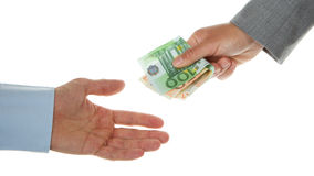Woman giving 150 euro to a man (business) Royalty Free Stock Photo