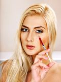 Woman giving botox injections. Beauty woman giving botox injections royalty free stock photos