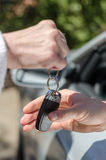 Woman giving car key to a man Royalty Free Stock Photo