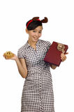 Woman Giving Christmas Present Royalty Free Stock Images
