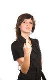 Woman giving the finger Royalty Free Stock Photography