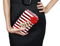 Woman giving a gift Stock Images