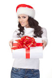 Woman giving the gift box Royalty Free Stock Image