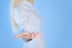 Woman giving hand Royalty Free Stock Image