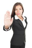Woman giving hand stop sign Stock Image