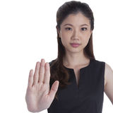 Woman giving hand stop sign Royalty Free Stock Photography