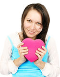 Woman giving a heart gift Stock Photography