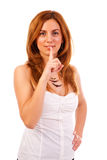 Woman giving hush sign Stock Images
