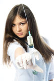 Woman giving an injection Stock Images