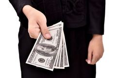 Woman giving a lot of money. Isolated on white background Royalty Free Stock Photos