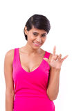 Woman giving love hand sign gesture Stock Photography