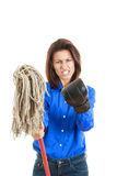 Woman giving mop to you or camera with boxing glove on one hand Stock Image