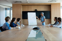 Woman giving presentation to her colleagues in conference room Royalty Free Stock Images