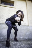 Woman giving punch Royalty Free Stock Photo