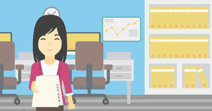 Woman giving resume vector illustration. Stock Photo