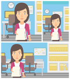 Woman giving resume vector illustration. Royalty Free Stock Photography