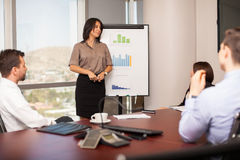 Woman giving a sales pitch. Pretty young women giving a sales pitch to a group of business people in a meeting room Royalty Free Stock Image