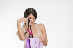 Woman giving a sneak peek at new lacy lingerie Stock Image