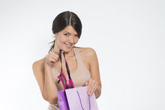 Woman giving a sneak peek at new lacy lingerie Stock Photography