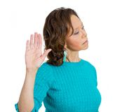 Woman giving talk to the hand gesture Stock Image