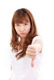 Woman giving thumb down Stock Photography