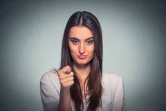Woman giving thumb finger figa gesture you get zero nothing stock photo