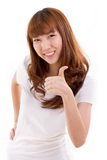 Woman giving thumb up Stock Photos