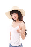 Woman giving thumb up, summer dress Stock Photo