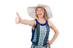 Woman giving thumbs up isolated Royalty Free Stock Photos