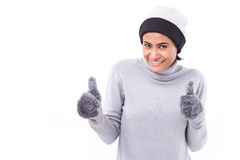 Woman giving two thumbs up Stock Image