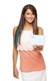 Woman giving you blank envelope Royalty Free Stock Photos