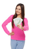 Woman giving you us dollar money Stock Image