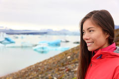 Woman at glacier lagoon on Iceland Stock Image