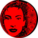 Woman glamour. Beautiful Woman's face, with red background Stock Photo
