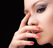 Woman with glamour make up arrow and nail art Royalty Free Stock Photos