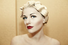 Woman with glamour red lips Stock Photos