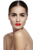 Woman with glamour red lips make-up, clean skin Stock Images