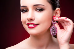 The woman in glamourous concept with jewelry Royalty Free Stock Photo