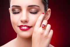 The woman in glamourous concept with jewelry Stock Images