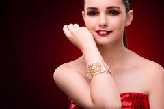 The woman in glamourous concept with jewelry Stock Photos