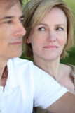 Woman glancing at her husband. Lovingly Stock Image