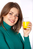 Woman with glass. Woman drinking fresh juice isolated on white Stock Images