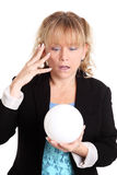 Woman with a glass ball fortune telling Royalty Free Stock Photos