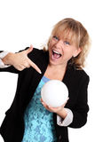 Woman with a glass ball fortune telling Royalty Free Stock Photography