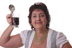 Woman with glass bavarian beer Royalty Free Stock Images