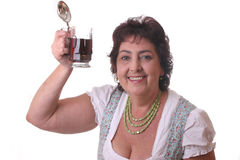 Woman with glass bavarian beer Stock Images