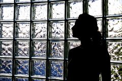 Woman and Glass Blocks. A beautiful woman, her head turned to the side and with a glimmer from her necklace, is silhouetted against a wall of glass blocks Royalty Free Stock Image