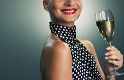 Woman with a glass of champagne Royalty Free Stock Photography